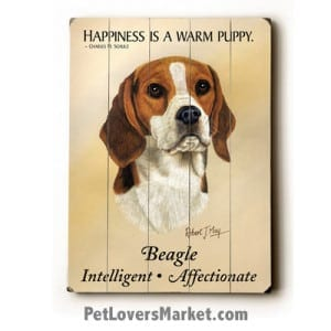 "Dog Painting: Beagle Picture. ""Happiness is a warm puppy."" Wooden Sign. Dog Art. Famous Dog Quote. Beagle Dog Breed."