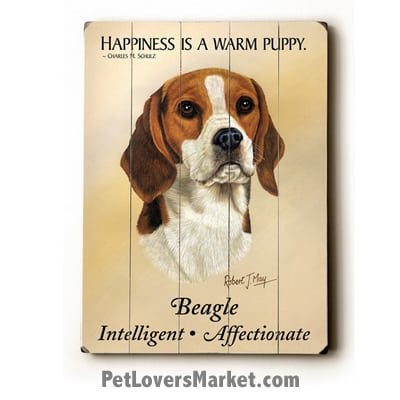 "Beagle: Dog Picture, Dog Print, Dog Art. ""Happiness is a warm puppy."" ~ dog quote. Wall Art and Wooden Signs with Dog Pictures and Dog Quotes. Features Beagle Dog Breed."