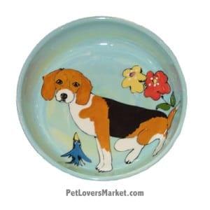 Beagle Dog Bowl (Spice). Ceramic Dog Bowls; Designer Dog Bowls; Cute Dog Bowls. Dog Bowls are Made in USA. Hand-painted. Lead Free. Microwave Safe. Dishwasher Safe. Food Safe. Pet Safe. Design features Beagle dog breed.