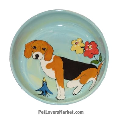 Beagle Dog Bowl (Spice). Ceramic Dog Bowls; Designer Dog Bowls; Cute Dog Bowls. Dog Bowls are Made in USA. Hand-painted. Lead Free. Microwave Safe. Dishwasher Safe. Food Safe. Pet Safe. Design features Beagle dog breed.