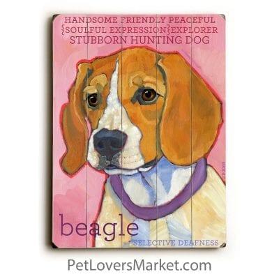 Beagle - Dog Pictures, Dog Art, Dog Print on Wood, Dog Decor. This dog picture features the Beagle Dog Breed.