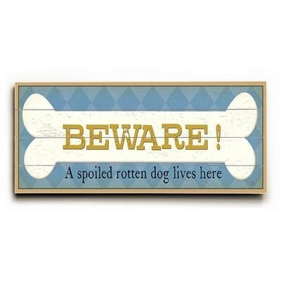 """""""Sloppy Kisses."""" Funny dog signs with funny dog quotes. Gifts for dog lovers. Dog print on wood sign."""