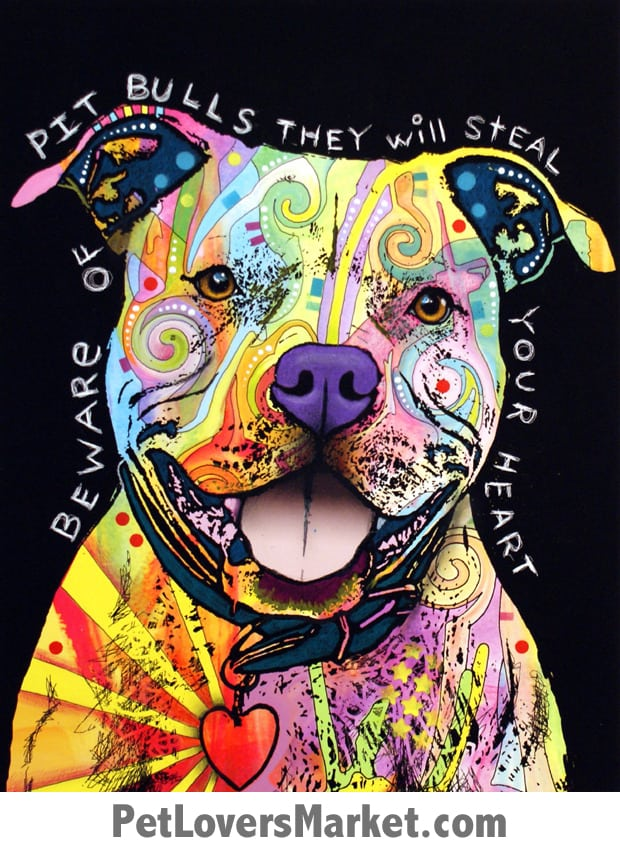 Beware of Pit Bulls They Will Steal Your Heart. Pitbull Art by Dean Russo. Dean Russo Art. Dog Signs with Dog Quotes. Dog Art, Dog Print, Dog Sign.