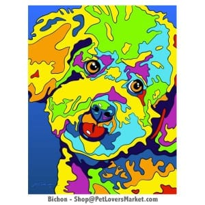 Dog Portraits: Bichon art. Dog paintings and dog portraits by Michael Vistia. Bichon art is available in canvas prints and matted prints. Bichon Frise dog breed.