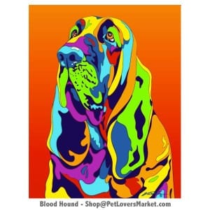 Dog Portraits: Bloodhound art. Dog paintings and dog portraits by Michael Vistia. Bloodhound art is available in canvas prints and matted prints. Bloodhound dog breed.