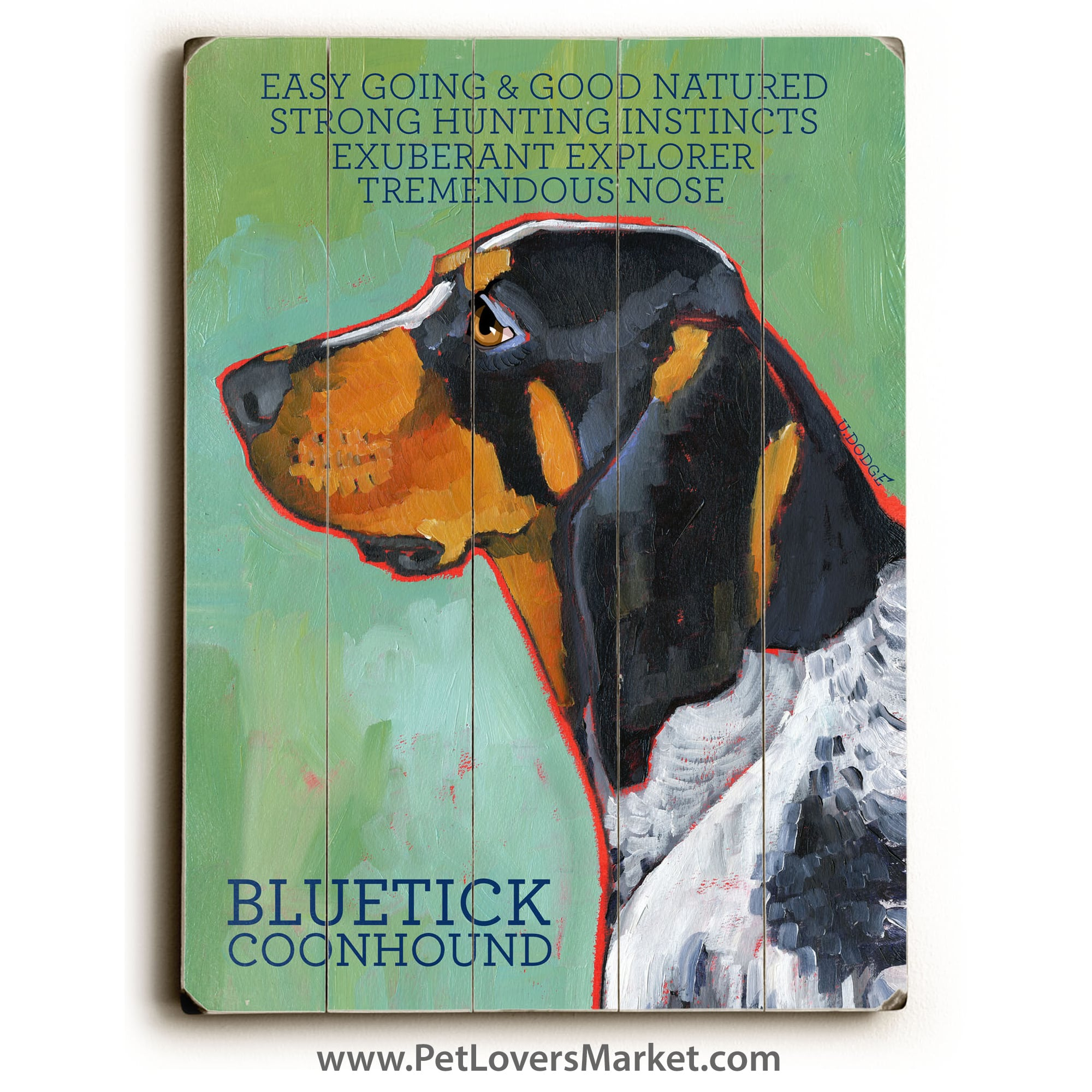 Bluetick Coonhound: Dog Print on Wood