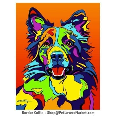 Dog Portraits: Border Collie Art / Border Collie Gifts. Dog paintings and dog portraits by Michael Vistia. Border Collie art is available in canvas prints and matted prints. Give Border Collie Art as Border Collie Gifts.
