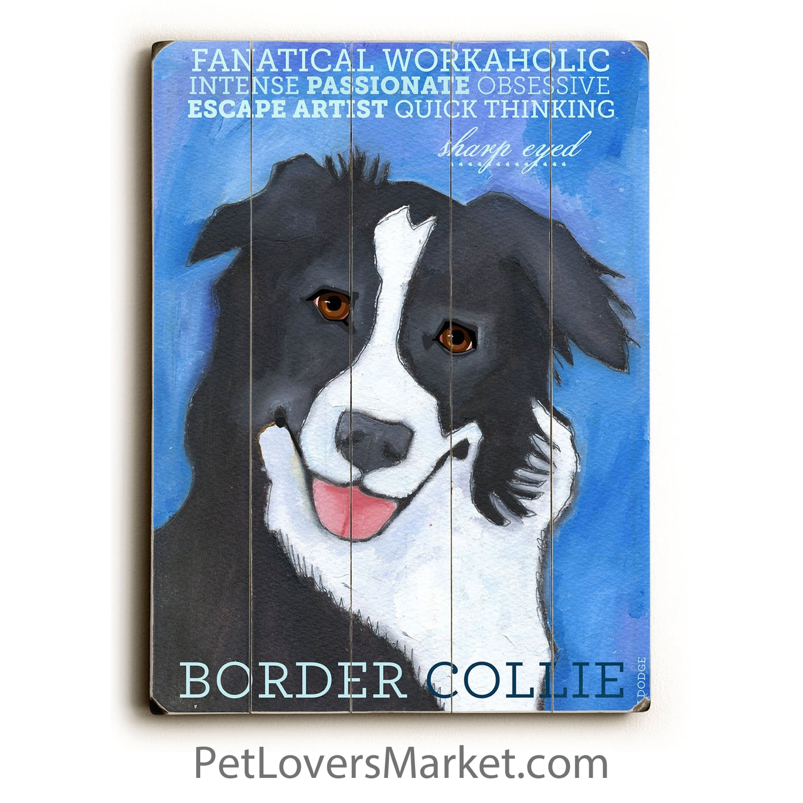 Border Collie: Dog Print on Wood