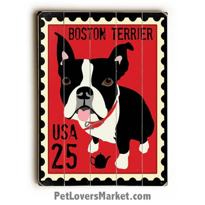 Dog Painting: Boston Terrier Pictures. Postage Stamp Painting. Dog Print. Dog Art. Wall Art. Wooden Sign. Boston Terrier dog breed.