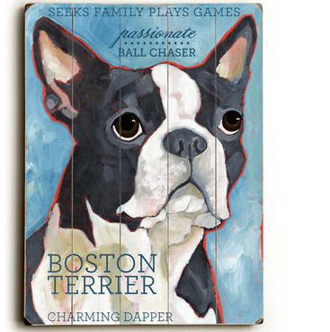 Boston Terrier - Dog signs with Dog Breeds. Gifts for Dog Lovers. Wooden sign.