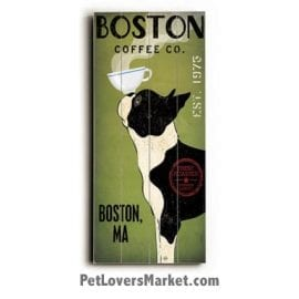 Boston Coffee Co - Vintage Coffee Ad with Vintage Dog