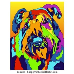 Dog Portraits: Bouvier Dog. Dog paintings and dog portraits by Michael Vistia. Available in canvas prints and matted prints. Features Bouvier Dog.