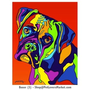 Dog Portraits: Boxer dog art. Dog paintings and dog portraits by Michael Vistia. Boxer dog art is available in canvas prints and matted prints. Dog painting features the Boxer dog breed.