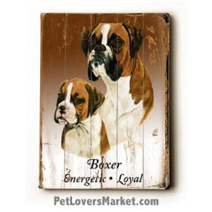 Dog Painting: Boxer Pictures. Boxer Dog Breed. Dog Print. Dog Art. Wall Art. Wooden Sign.