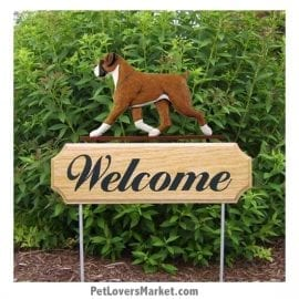 Welcome Sign with Boxer dog breed (Fawn Natural) Welcome sign and dog sign for dog lovers. Welcome sign is perfect for home and garden decor, garden accents, outdoor accents, unique garden statues, garden statues online, best garden decor, garden stake decor, decorative garden stake, outdoor home accents, unique garden decor, outdoor home decor. Features Boxer dog breed.