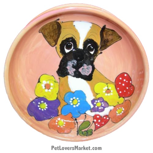 Boxer Dog Bowl (Frandandy). Ceramic Dog Bowls; Designer Dog Bowls; Cute Dog Bowls. Dog Bowls are Made in USA. Hand-painted. Lead Free. Microwave Safe. Dishwasher Safe. Food Safe. Pet Safe. Design features Boxer dog breed.