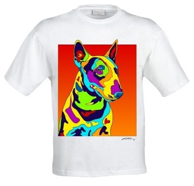 Dog Portraits: Bull Terrier art. Dog paintings and dog portraits by Michael Vistia. Bull Terrier art is available in canvas prints and matted prints. Dog painting features the Bull Terrier dog breed.