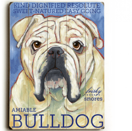 Bulldog - Dog signs with Dog Breeds. Gifts for Dog Lovers. Wooden sign.
