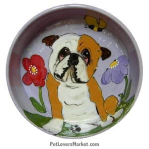 Bulldog Dog Bowl (Lord Byron). Ceramic Dog Bowls; Designer Dog Bowls; Cute Dog Bowls. Dog Bowls are Made in USA. Hand-painted. Lead Free. Microwave Safe. Dishwasher Safe. Food Safe. Pet Safe. Design features Bulldog dog breed.