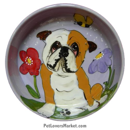 Bulldog Dog Bowl (Lord Byron). Ceramic Dog Bowls; Designer Dog Bowls; Cute Dog Bowls. Dog Bowls are Made in USA. Hand-painted. Lead Free. Microwave Safe. Dishwasher Safe. Food Safe. Pet Safe. Design features Bulldog dog breed.