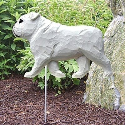 Bulldog Statue (White): Dog Statues and Garden Statues