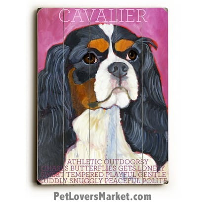 Dog Painting: Cavalier King Charles Spaniel. King Charles Spaniel Pictures. Dog Print. Dog Art. Wall Art. Wooden Sign. Dog Painting features the Cavalier King Charles Spaniel dog breed.