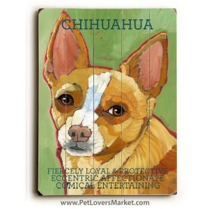 Dog Painting: Chihuahua Pictures. Dog art, dog painting, dog print, wooden sign, print on wood.