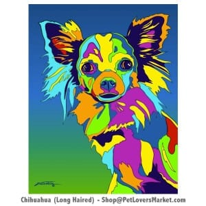 Dog Portraits: Chihuahua art and Chihuahua Gifts. Dog paintings and dog portraits by Michael Vistia. Chihuahua art is available in canvas prints and matted prints. Dog painting features the long haired Chihuahua dog breed.