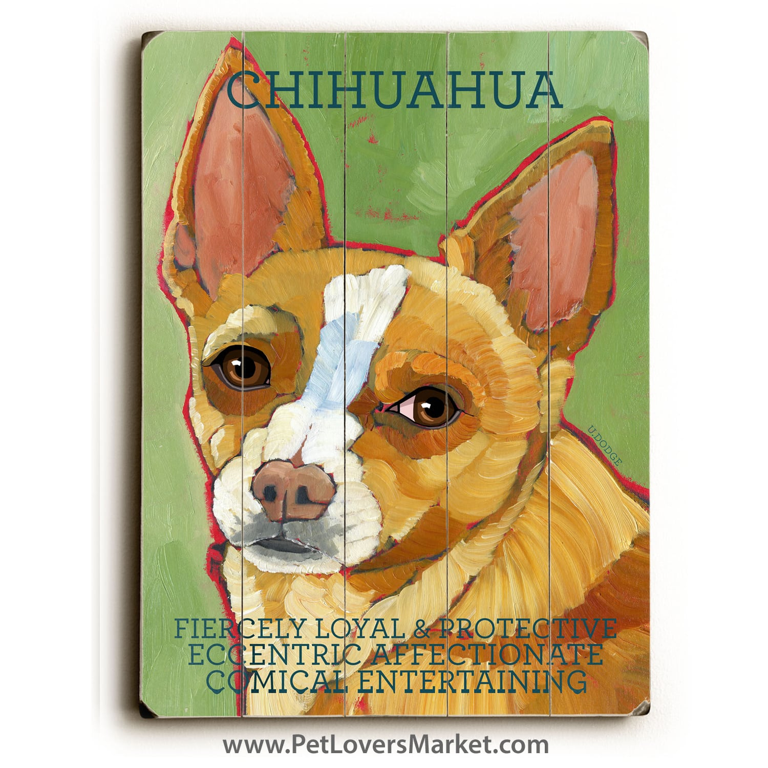 Chihuahua: Dog Print on Wood