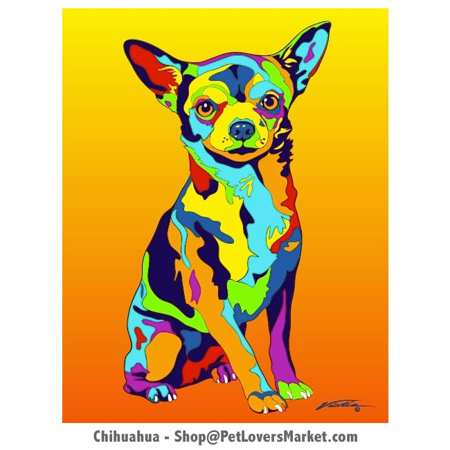 Dog Portraits: Chihuahua art and Chihuahua Gifts. Dog paintings and dog portraits by Michael Vistia. Chihuahua art is available in canvas prints and matted prints. Dog painting features the Chihuahua dog breed.