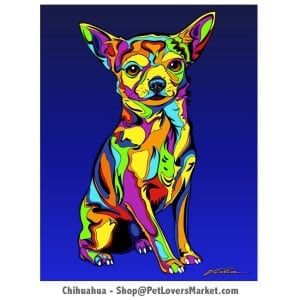 Chihuahua Art. Chihuahua Pictures. Dog portrait and dog painting by Michael Vistia.