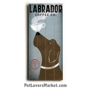 """""""Labrador Coffee Co"""" - Vintage Sign with Vintage Dogs."""