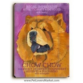 Chow Chow: Dog Print on Wood
