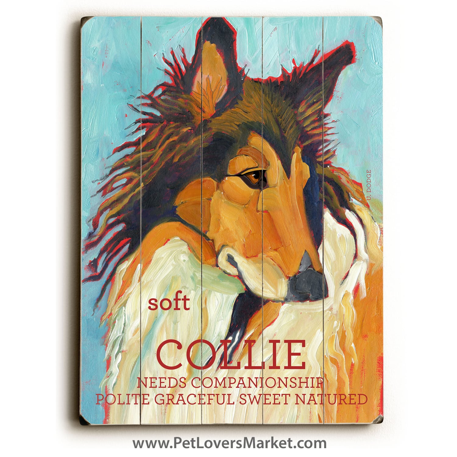 Collie: Dog Print on Wood