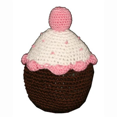 Crochet Dog Toys: Strawberry Cupcake