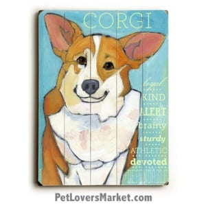 Dog Painting: Corgi Pictures. Dog painting featuring the Pembroke Welsh Corgi dog breed. Dog art, dog print, wooden sign, wall art. Gifts for dog lovers.