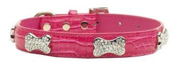 Dog Collars: Pink Crystal Bones