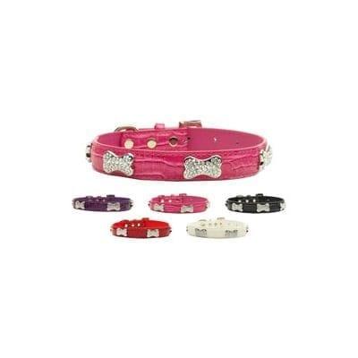 Dog Collars: Faux Croc Collars with Crystal Bones