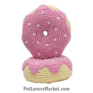 Strawberry Donut: Crochet Dog Toys, Organic Dog Toys, Dog Teeth Cleaning, Organic Cotton, Dog Toys, Cool Dog Toys, Hip Doggie, Dental Toys.