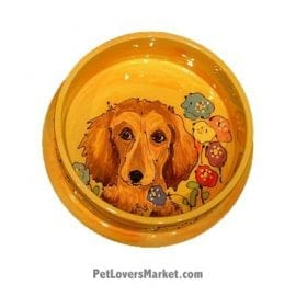 Dachshund Dog Bowl (Diddle Dee Dunk). Ceramic Dog Bowls; Designer Dog Bowls; Cute Dog Bowls. Dog Bowls are Made in USA. Hand-painted. Lead Free. Microwave Safe. Dishwasher Safe. Food Safe. Pet Safe. Design features Dachshund dog breed.