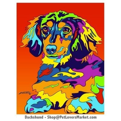 Dog Painting of the Dachshund dog breed. Dachshund Pictures. Dog portraits and dog paintings by Michael Vistia. Canvas Prints and Matted Prints available. Dog Art.