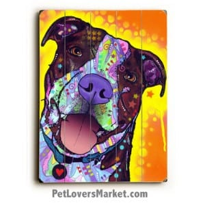 Pit Bull Art: Daisy Pit, A Dean Russo Pitbull. Dog art, dog print, dog painting, wall art, wooden sign, print on wood.