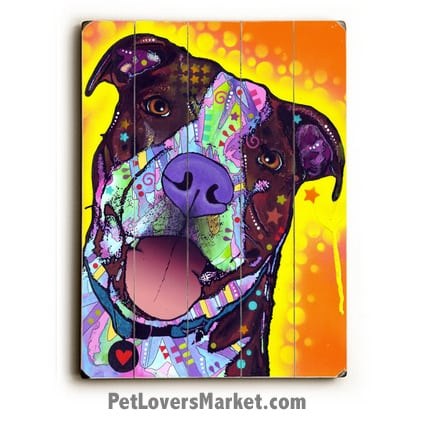 Pit Bull Art (Daisy Pit by Dean Russo). Dog Print / Dog Sign Featuring Pit Bull Dog Breed. Dean Russo Art, Dog Art, Pitbull Art.