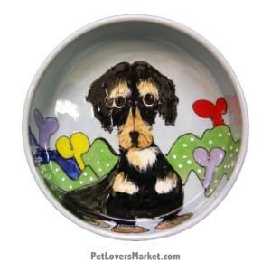 Dachshund Dog Bowl (Rich and littles). Ceramic Dog Bowls; Designer Dog Bowls; Cute Dog Bowls. Dog Bowls are Made in USA. Hand-painted. Lead Free. Microwave Safe. Dishwasher Safe. Food Safe. Pet Safe. Design features Dachshund dog breed.