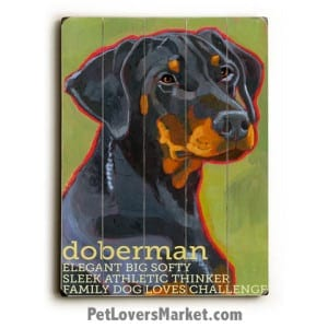 Dog Painting - Doberman Pictures. Dog painting featuring Doberman Pinscher dog breed. Dog art, dog print, wooden sign.