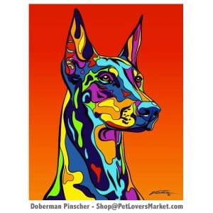 Doberman Pictures: Doberman painting and Doberman art by Michael Vistia. Dog paintings and dog portraits on matted or canvas prints. Doberman gifts.