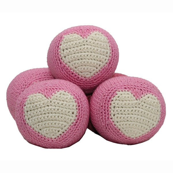 Dog Balls: Pink Heart Organic Crochet Dog Toys