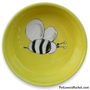 Buzzy Beez Dog Bowl. Part of Collection of Ceramic Dog Bowls; Designer Dog Bowls; Cute Dog Bowls. Dog Bowls are Made in USA. Hand-painted. Lead Free. Microwave Safe. Dishwasher Safe. Food Safe. Pet Safe. Design features Bumble Bee.
