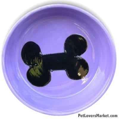 Purple with Black Bone Dog Bowl. Part of Collection of Ceramic Dog Bowls; Designer Dog Bowls; Cute Dog Bowls. Dog Bowls are Made in USA. Hand-painted. Lead Free. Microwave Safe. Dishwasher Safe. Food Safe. Pet Safe.