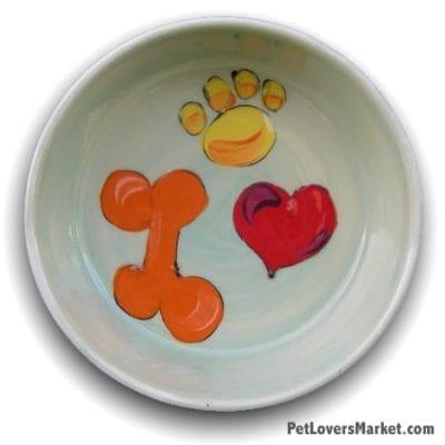 Bone, Paw Print, Heart Bowl. Part of Collection of Ceramic Dog Bowls; Designer Dog Bowls; Cute Dog Bowls. Dog Bowls are Made in USA. Hand-painted. Lead Free. Microwave Safe. Dishwasher Safe. Food Safe. Pet Safe.